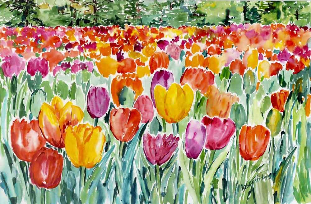 aquarell-tulpenwiese